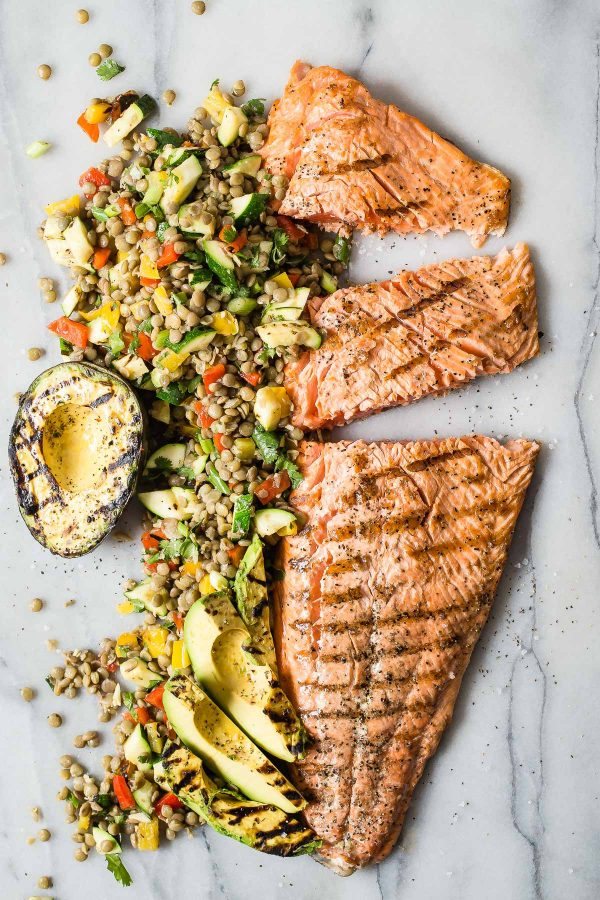 Grilled Salmon With Green Lentil And Avocado Salad